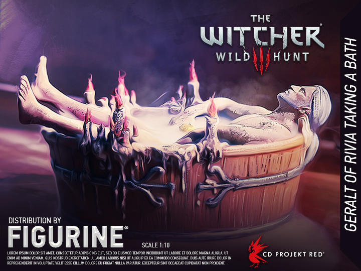『The Witcher 3』の印象的なオープニングシーンより「ゲラルトの入浴シーン」がフィギュア化。CD PROJECT REDのエイプリルフール企画が現実に